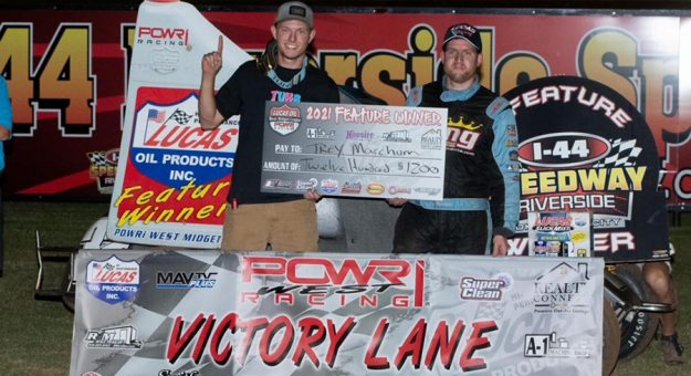 Trey Marcham in victory lane at I-44 Riverside Speedway. (Danny Clum Photo)