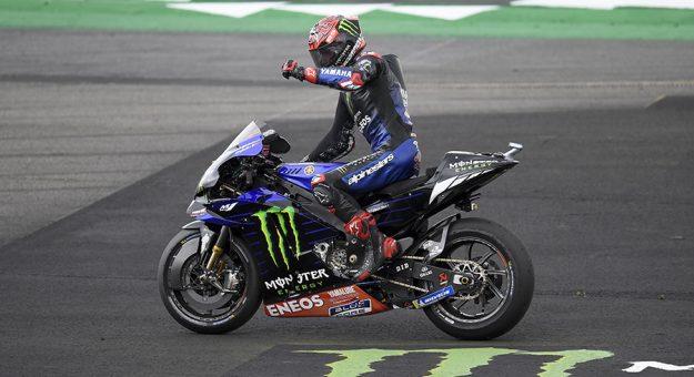 Fabio Quartararo triumphed in MotoGP action Sunday at the Silverstone Circuit. (Yamaha Photo)