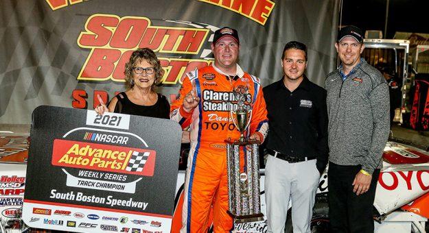 Peyton Sellers celebrates his championship Saturday at South Boston Speedway. (Joe Chandler/South Boston Speedway Photo)