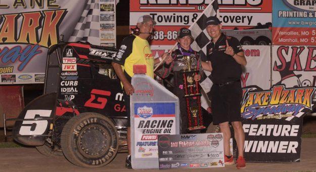 Gavan Boschele in victory lane at Lake Ozark Speedway. (Allen Horcher Photo)