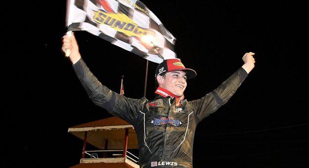 Landen Lewis celebrates his maiden ARCA Menards Series victory Sunday at the DuQuoin State Fairgrounds. (ARCA Photo)