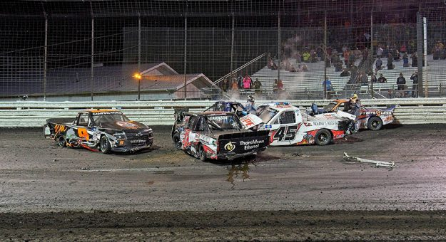 Codie Rohrbaugh (9), Cody Erickson (41), Jett Noland (45), Chase Briscoe (04) Donny Schatz (17) after the big one during the feature for the NCWTS Corn Belt 150 Presented by Premier Chevy Dealers at Knoxville at Knoxville in Knoxville, Iowa.