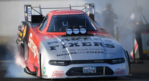 Cruz Pedregon topped the Funny Car field during qualifying Saturday at Maple Grove Raceway. (NHRA Photo)