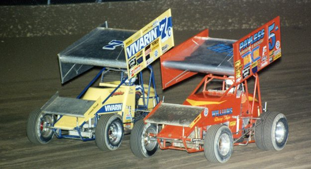 Dave Blaney (7c) and Mark Kinser in 1991 at Eldora Speedway. (Paul Arch Photo)
