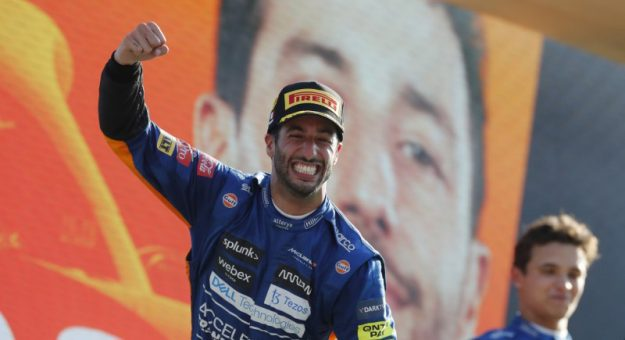 Daniel Ricciardo celebrates his victory in the Italian Grand Prix. (Pirelli Photo)