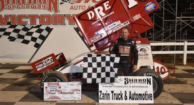 Dave Blaney in victory lane at Sharon Speedway.