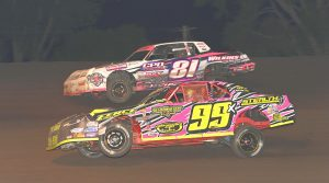 Dallon Murty (99) on his way to victory in Saturday's IMCA Stock Car main event. (Tom Macht Photo)