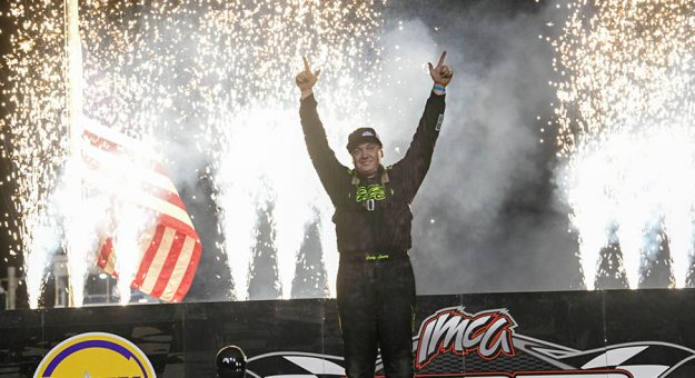 Cody Laney celebrates after winning the IMCA Modified portion of the IMCA Super Nationals Saturday at Boone Speedway. (Tom Macht Photo)