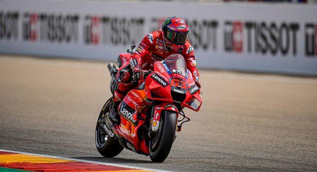 Francesco Bagnaia earned his first MotoGP victory Sunday at MotorLand Aragon. (Ducati Photo)