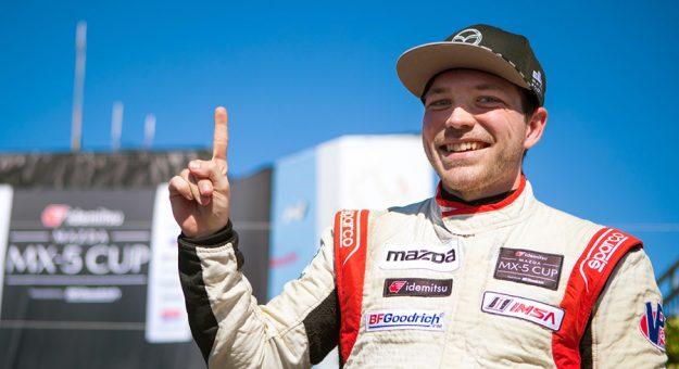 Gresham Wagner won Sunday's Idemitsu Mazda MX-5 Cup event at WeatherTech Raceway Laguna Seca.