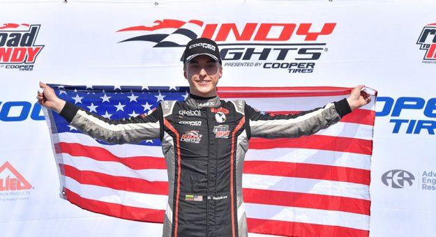 David Malukas in victory lane at Portland Int'l Raceway. (Gavin Baker Photo)