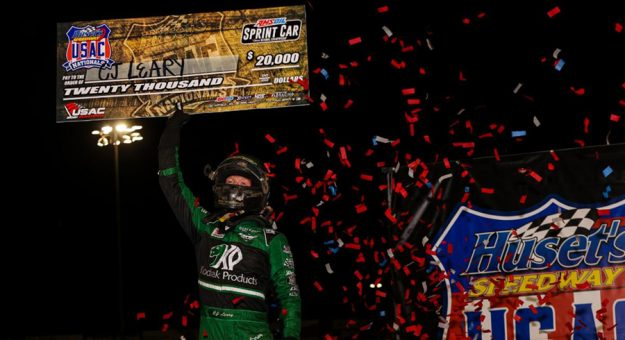 C.J. Leary was triumphant in Saturday night's Huset's Speedway USAC Nationals 30-lap AMSOIL National Sprint Car feature. (DB3, Inc. Photo)