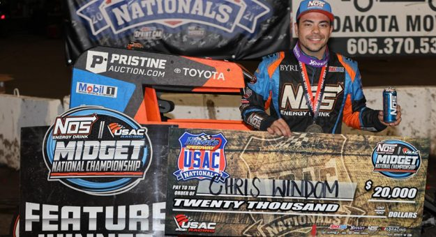 Chris Windom led the final 15 laps of Sunday night's $20,000-to-win, 100-lap USAC NOS Energy Drink Midget National Championship feature at the inaugural Huset's Speedway USAC Nationals in Brandon, South Dakota. (DB3, Inc. Photo)