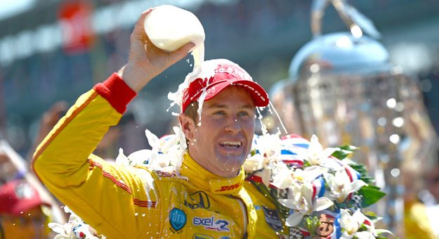 Ryan Hunter-Reay celebrates his victory in the 2014 Indianapolis 500. (IndyCar Photo)