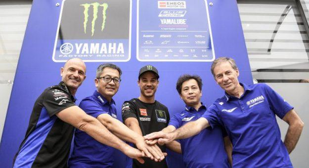 Franco Morbidelli (center) has joined the factory Yamaha MotoGP program.