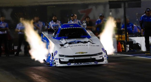 John Force roared to the provisional No. 1 spot in Funny Car Friday at zMAX Dragway. (CMS Photo)