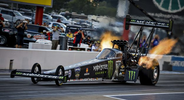Brittany Force held on to the No. 1 spot in Top Fuel qualifying Saturday at zMAX Dragway. (NHRA photo)