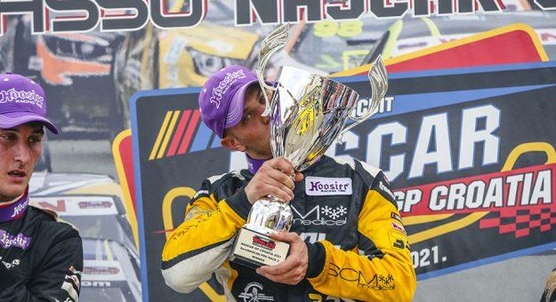 Gianmarco Ercoli on the podium at Automotodrom Grobnik. (Stephane Azemard Photo)