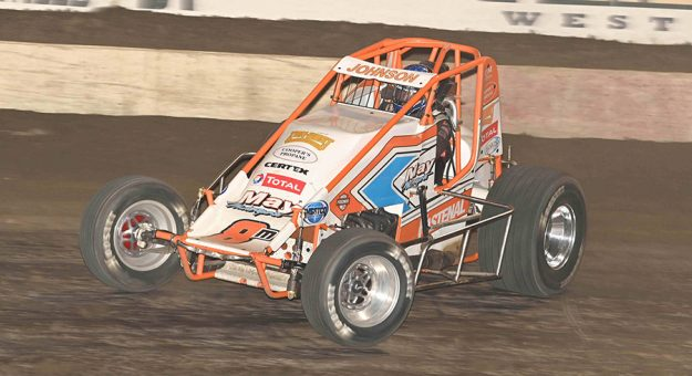 Chase Johnson on his way to victory Saturday at Bakersfield Speedway. (Tom Macht Photo)
