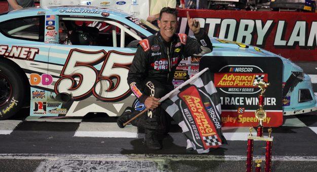 Mark Wertz in victory lane Saturday at Langley Speedway.