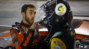 Chase Elliott (left) and Kevin Harvick (right) exchange words after Saturday's Bass Pro Shops NRA Night Race. (Jared C. Tilton/Getty Images Photo)