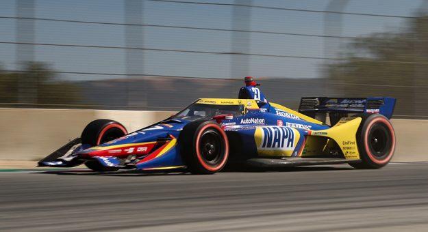 Alexander Rossi was fastest in Sunday morning's NTT IndyCar Series warmup at WeatherTech Raceway Laguna Seca. (IndyCar Photo)