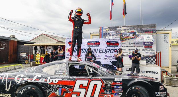 Tobias Dauenhauer in victory lane Sunday at Automotodrom Grobnik. (Stephane Azemard Photo)