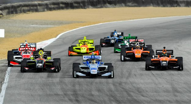 The start of Sunday's Indy Lights event at WeatherTech Raceway Laguna Seca.