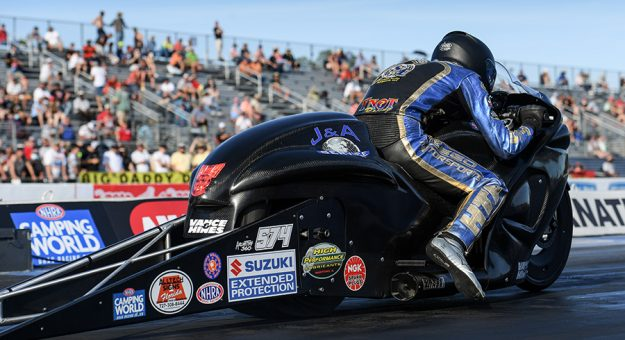 Cory Reed is expected to undergo surgery for injuries suffered in a NHRA Pro Stock Motorcycle crash Sunday at zMAX Dragway. (NHRA Photo)