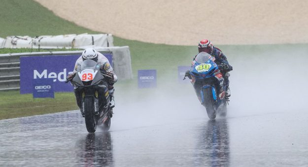Gabriel Da Silva (93) beat Supersport Champion Sean Dylan Kelly in Sunday's Supersport race at Barber Motorsports Park for his first-career MotoAmerica victory. (Brian J. Nelson Photo)