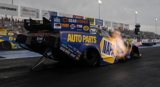 Ron Capps powered to the early No. 1 spot in NHRA Midwest Nationals qualifying. (NHRA Photo)