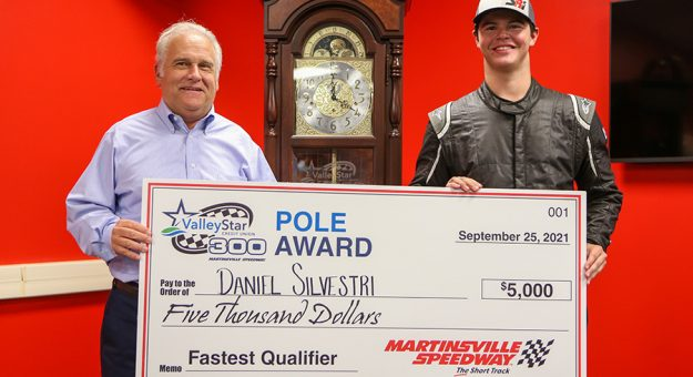 Daniel Silvestri (right) poses with Martinsville Speedway President Clay Campbell after winning the pole for the ValleyStar Credit Union 300 at Martinsville Speedway Friday night. (Adam Fenwick Photo)