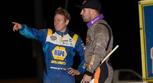 Brad Sweet (left) and David Gravel chat in victory lane following Saturday's race at Lernerville Speedway.