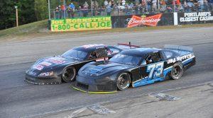 Joey Doiron (73) battles Wyatt Alexander last Sunday at Beech Ridge Motor Speedway. (Jamie Williams Photo)