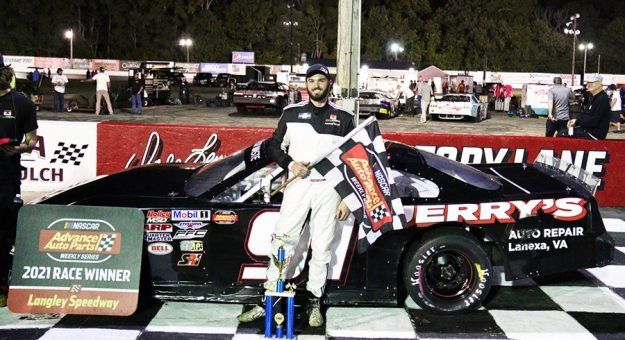 Justin S. Carroll in victory lane Saturday night at Langley Speedway.