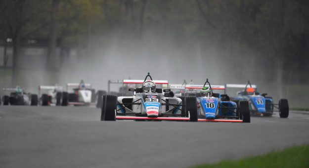 Josh Green leads the Cooper Tires USF2000 field Sunday at the Mid-Ohio Sports Car Course.