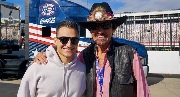 Defending NTT IndyCar Series champion Alex Palou (left) met NASCAR legend Richard Petty Sunday at Charlotte Motor Speedway. (Bruce Martin Photo)