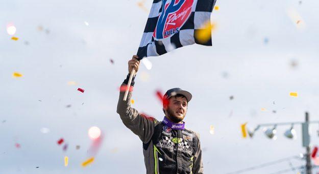 Zach Sobotka in victory lane at Oswego Speedway. (Tom Morris Photo)