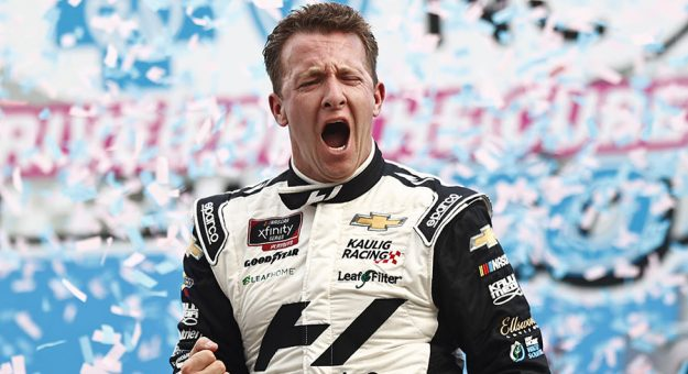 A.J. Allmendinger celebrates his victory last Saturday at the Charlotte Motor Speedway ROVAL. (Jared C. Tilton/Getty Images Photo)