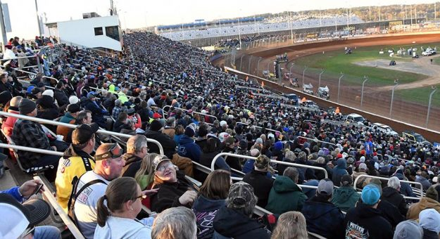 Fans pack the stands in 2019 during the World of Outlaws World Finals. (Frank Smith Photo)