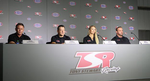 (From left) NHRA President Glen Cromwell, Tony Stewart Racing owner Tony Stewart, Top Fuel driver Leah Pruett and Funny Car driver Matt Hagan. (Adam Fenwick Photo)